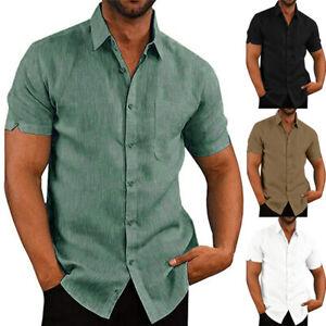 Mens Short Sleeve Linen Shirts Summer Casual Loose Solid Dress Shirt Blouse Tops