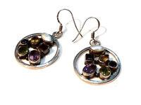 Bijou argent 925 boucles d'oreilles multi pierres earrings