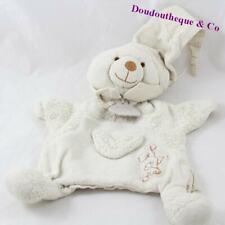 Doudou marionnette ours DOUDOU ET COMPAGNIE bio coton blanc 25 cm (MO4286)