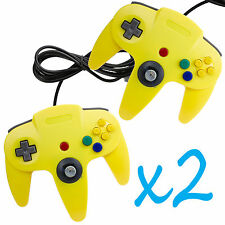 2 PCS NEW Long Controller Game System for Nintendo 64 N64 Yellow  US Ship