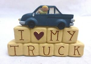 """Blossom Bucket Blue """"I Love My Truck"""" Truck Lovers Auto Fans Figurine NEW!!!"""