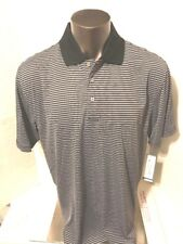 PGA Tour NEW Gray / Black Mens Size XL Stripe Golf Polo Rugby Shirt $50 Caviar