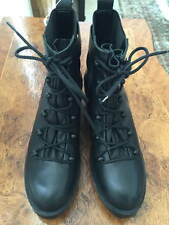 "ZARA TRAFALUC  BLACK LEATHER LACE-UP ANKLE BOOTS SIZE 40 ""GORGEOUS"""