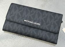 NWT MICHAEL KORS JET SET TRAVEL MK SIGNATURE  PVC LARGE TRIFOLD WALLET BLACK