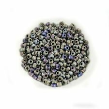 Czech Rocailles 6/0-Matte Opaque Striped Blue-Aged Seed Beads