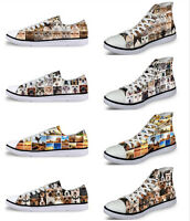 Animal Cat Dog Women Lady Soft Low High Top Canvas Shoes Comfort Casual Sneakers