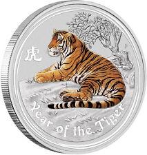 Perth Mint Australia 2010 $ 0.5 Coloured Tiger Half 1/2 oz .999 Silver Coin