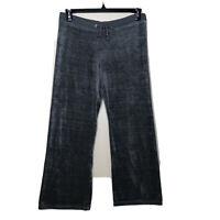 Juicy Couture Sz M Womens Velour Track Pants Elastic Drawstring Waist Flare Legs