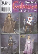 Simplicity 5520 Kids Costumes Pattern UNCUT A3-8 Princess Viking Knight