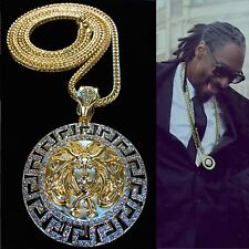 "MENS ICED OUT RAPPER ROUND MEDALLION PENDANT GOLD FRANCO CHAIN 4MM 36"" NECKLACE"