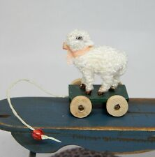 Vintage Fuzzy Lamb Nursery Pull Toy Artisan Dollhouse Miniature 1:12