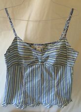 Tommy Hilfiger Blue/Green/White Striped Tank Top. Ruffled Bottom. Size 8. EUC.