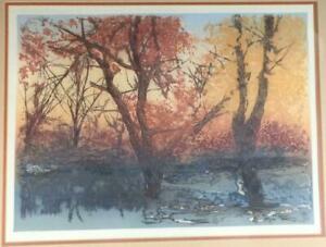"Jack Willis signed artis proof etching ""Water Elm"""