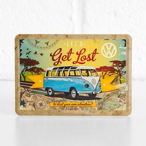 Small 14x10cm VW Blue Camper Van Metal Tin Sign Wall Plaque Gift VW Merchandise