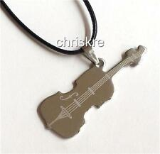 Silver Stainless Steel Violin Necklace Fiddle Music Musician Gift USA Seller