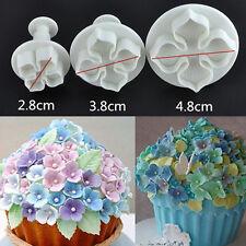 3pcs Hydrangea Flower Plunger Mould Cake Decorating Fondant SugarCraft Cutters