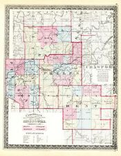 Missouri Campbell's Missouri 4 Counties Map - Hand Colored  -  1873 Original