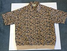 Vintage Men's Haband Polyester Full Zip Shirt Jacket Geometric Pattern Sz Xl