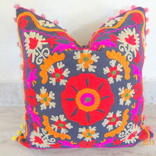 """Cushion Cover Indian Traditional 16"""" Suzani Embroidered Pillows Cases Decorative"""