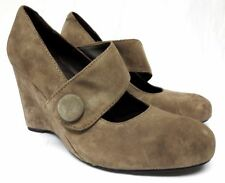 Born Crown 11 M suede high heel mary janes pumps shoes round button wedge