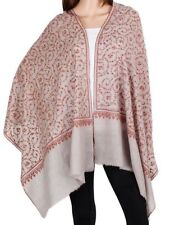 Pure Cashmere Brown Pashmina Red Embroidery border Luxury Royal Soft