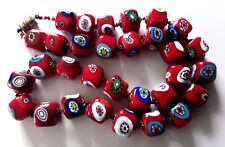 Vintage Rare Venetian Millefiori Square Red Glass Beads Murano Knotted Necklace