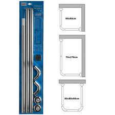 Shower Curtain U & L Shape Corner Rail 3 Way 28mm Diameter Track Rod Pole Bath