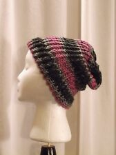Handmade One Size Black Grey Pinks Knitted Beanie 80% Acrylic 20% Wool Blend