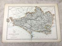 Mappa Antica Dorsetshire Dorset Poole Weymouth 19th Secolo Vecchio Mano Colorato