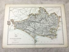 Antique Map Dorsetshire Dorset Poole Weymouth 19th Century Old Hand Coloured