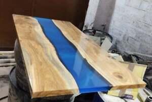 Blue Furniture Dining,Living,Garden Epoxy Decorative Resin Wooden Walnut Table