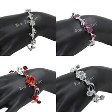 Diamante Bracelet Rhinestone Crystals Flower Bridal Wedding Prom Gift Boxed