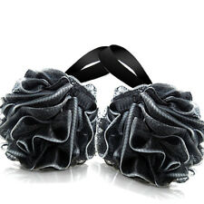 2 Pack Bath Loofahs Sponges Shower Ball Body Exfolilating Mesh Puff Brush Black