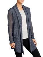Athleta Cabrillo Open Cardigan Sweater Navy Blue Cashmere Linen Size XXS