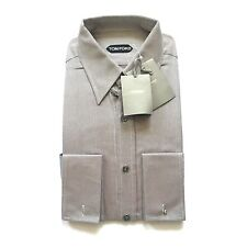 NWT $540 TOM FORD Men's Beige Brown Basket Woven Dress Shirt 15.75 40 AUTHENTIC