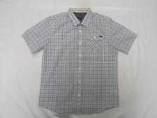 O'Neill Men Wesley White & Gray Classic Fit SS Woven Shirt Sz Medium