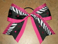 "NEW ""ZEBRA DOTS BLING PINK"" Cheer Bow Pony Tail 3 Inch Ribbon Girls Cheerleading"