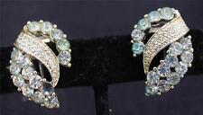 Vintage Signed CORO Silvertone Rhinestones Clip-On Earrings