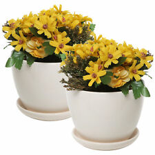 Set of 2 Off White Ceramic Planter Display Containers / Flower Pots with Saucer