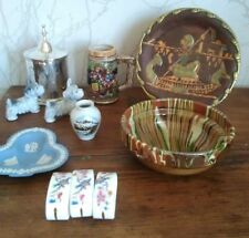 Vintage Ornamental Job Lot Pottery Metal Wedgwood Souvenirs 11 Pieces