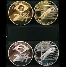 Brasil 2014 Football World Cup 2pcs (Silver + Gold Plated) 2枚巴西世界足球赛 镀金银套装 纪念币