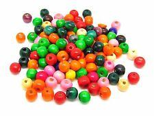 250 Pcs -  10mm X 9mm Mix Colour Round Wooden Beads Jewellery Kids Children K6