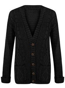 Womens Grandad Cardigan, Knitted Jacquard V-Neck Jumper Long Sleeve