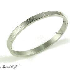 """7"""" Stainless Steel Silver Tone Greek Key Oval Bangle Cuff Bracelet 5.5mm width"""