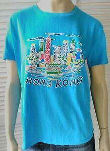 HONG KONG vintage ladies size XL tshirt blue puff print city tourist souvenir