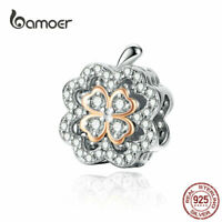 BAMOER Women DIY European Charm S925 Sterling Silver Flower Fit Bracelet Jewelry