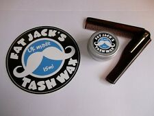 Fat Jack's Tash Wax - Moustache Comb & Wax Pack! Kent 20t Folding Comb & Wax