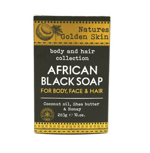 Natures Golden Skin African Black Soap for Hair/Body & Face 10oz  NEW
