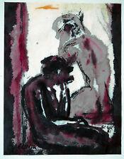Gerhard Elsner 1930 Senftenberg-2017: Nachdenkliches Paar, Aquarell, 1998