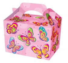 10 Girls Pink Butterfly Food Boxes ~ Picnic Carry Meal Box Birthday Party Plate